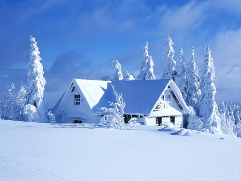 White house in a beautiful white winter season