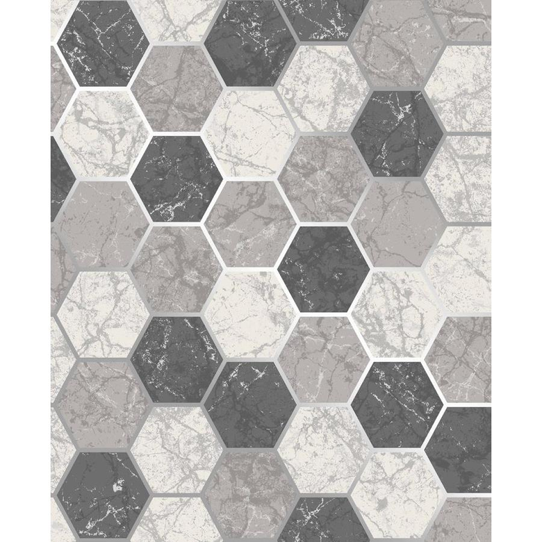 Crown Margaret Charcoal Marble Hexagon lowes In stock