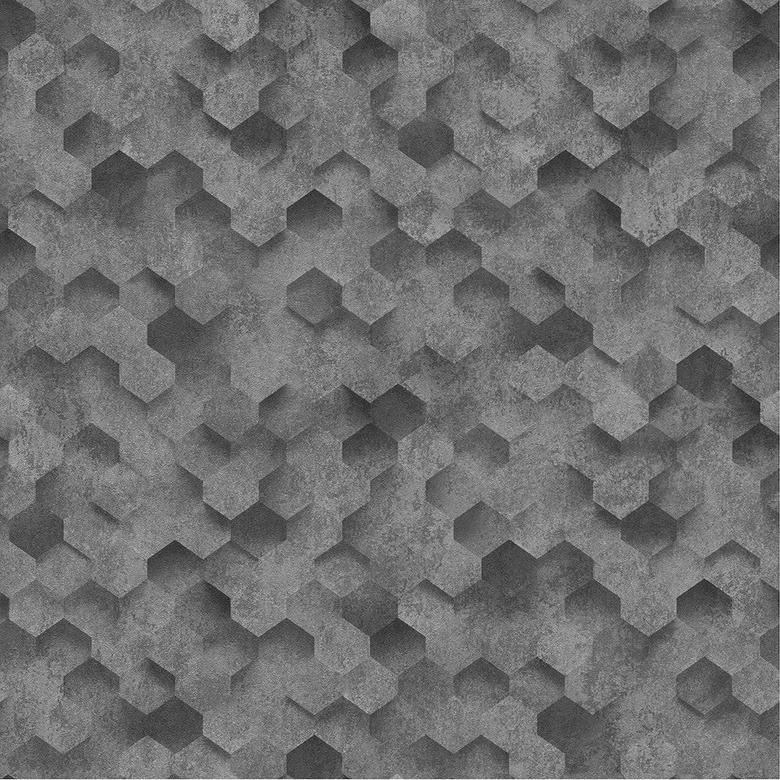 P S 3D Hexagon Geometric Wallpapers Black Metal Grey Honeycomb Paste Wall Vinyl