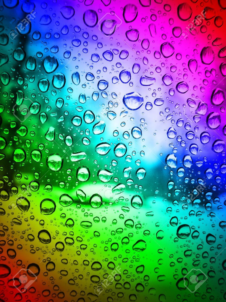 Rain drops on glass color