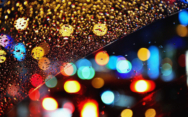 glass Rain Drops Bokeh Lights wallup