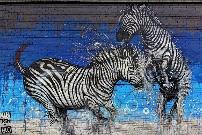 Picture Zebras 2 Graffiti Wall Animals