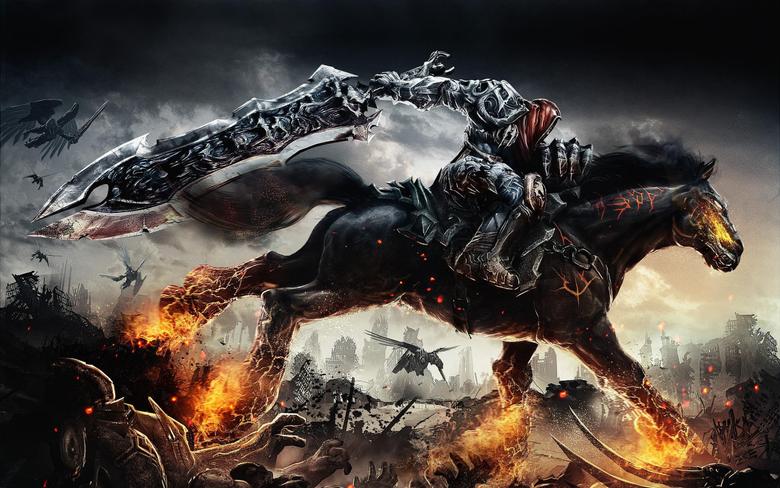 Black horse fantasy art sword demon fire HD wallpapers