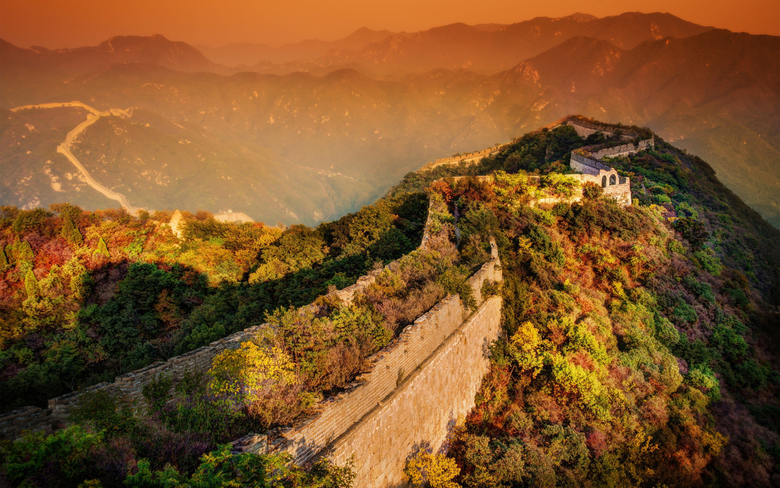 Sunset In Great Wall Of China Wallpapers
