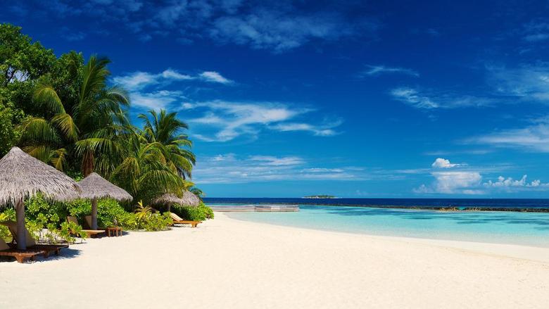 Wallpapers Maldives Tropical beach Seascape Ocean Island 4K