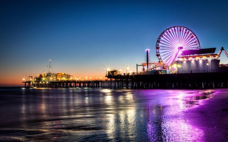 Wallpapers Santa Monica pier ferris wheel night lights sea