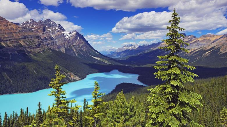 Wallpapers canada alberta mountain lake rock sky desktop