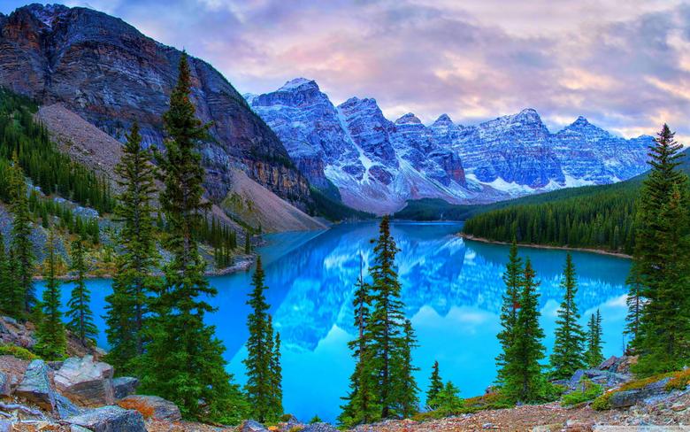 Mountains Moraine Lake Banff National Park Canada 4K HD