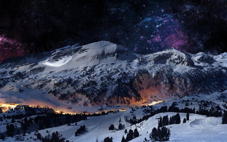 Winter Night Mountain Wallpapers