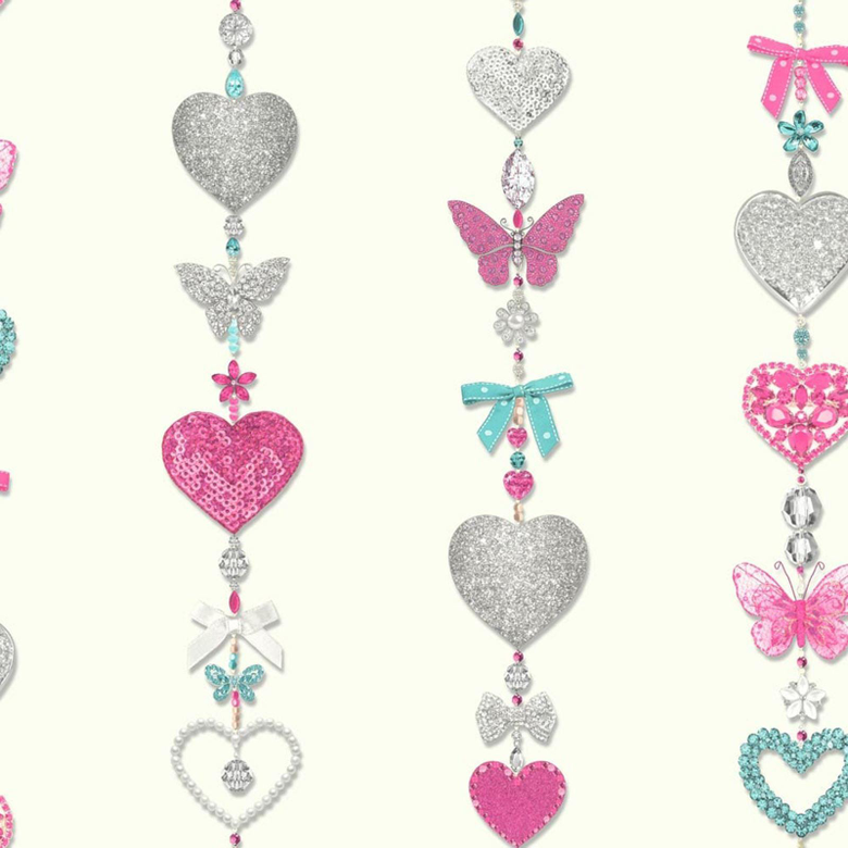 TIFFANY HEARTS STRIPE GLITTER WALLPAPER ROLLS