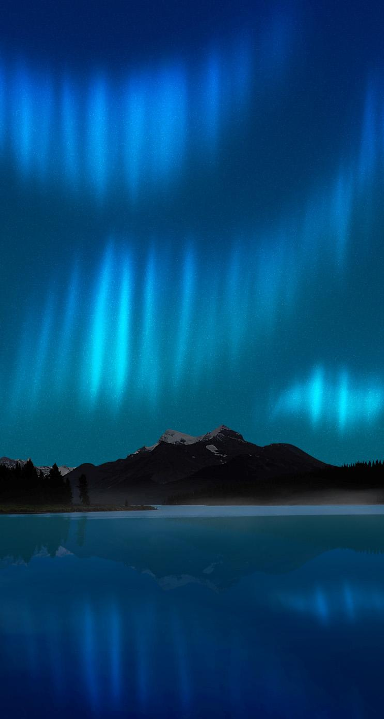 Northern Lights Lake Reflection iPhone 5 Wallpapers HD