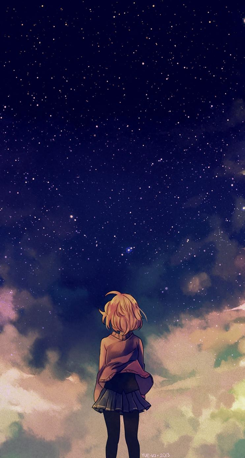 Starry Space Illust Anime Girl iPhone se Wallpapers