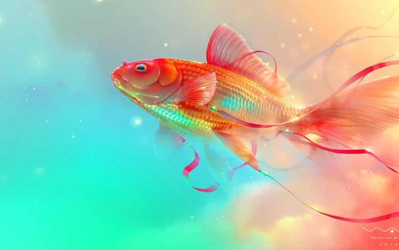 1920x1200 Goldfish Digital Art Underwater Wallpapers for
