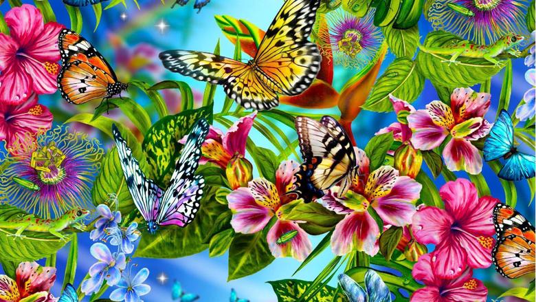 Wallpapers vector butterflies 1920x1080 px