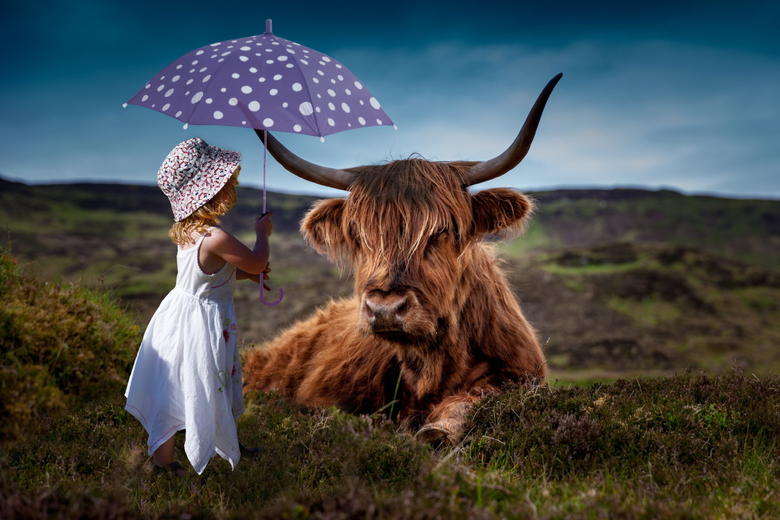 Girl in white dress under the umbrella near the highland
