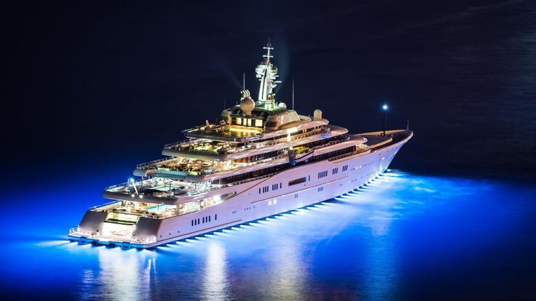 mega yacht yachts superyacht yacht eclipse night night helicopter