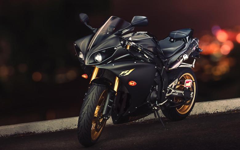 yamaha yzf r1 sport bike black gold wallpapers