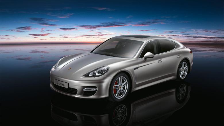 Grey Porsche Panamera Turbo Night Sky Backgrounds