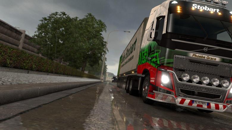 euro truck simulator 2 rain reflection truck lorry trees volvo fh16