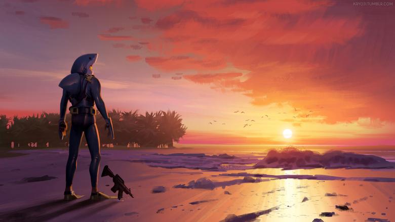 Chomp Sr Staring Wistfully into the Sunset Fanart FortNiteBR