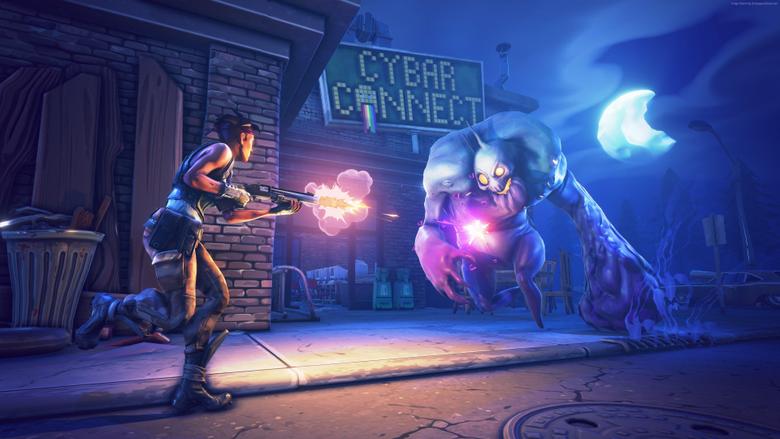 Fortnite Game Shooter Zombie Gun Night Street Moon Art