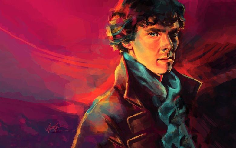 paintings men BBC Sherlock Holmes artwork Benedict Cumberbatch
