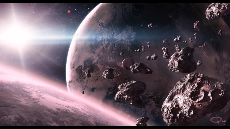 Outer space planets earth digital art asteroids wallpapers