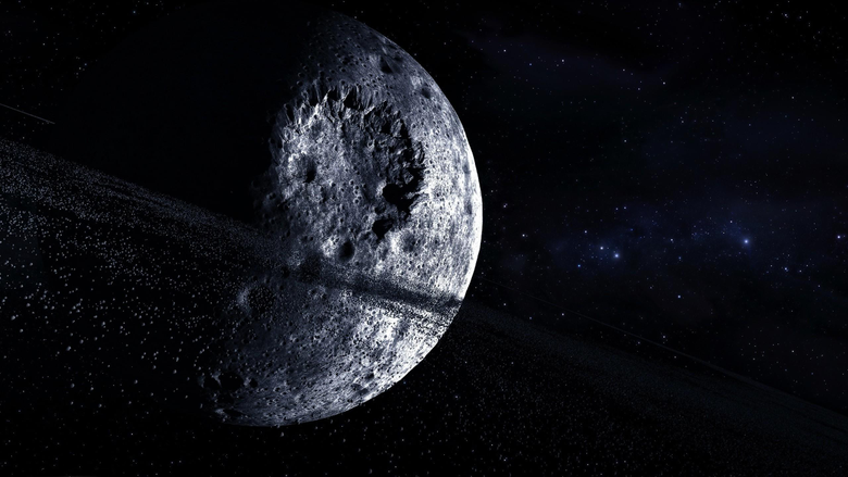 Outer space stars moon crater digital art wallpapers