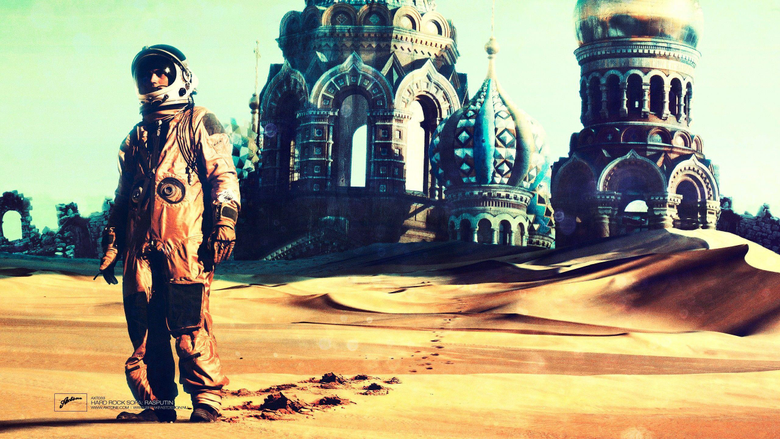Cosmonaut in an abandoned church in the desert wallpapers and