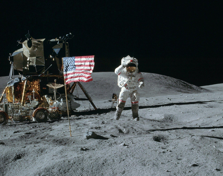 space moon cosmonaut american jump flag america united states