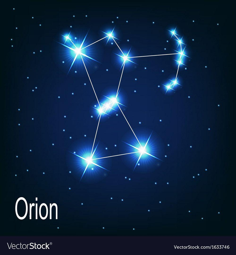The constellation Orion star in the night sky Vector Image