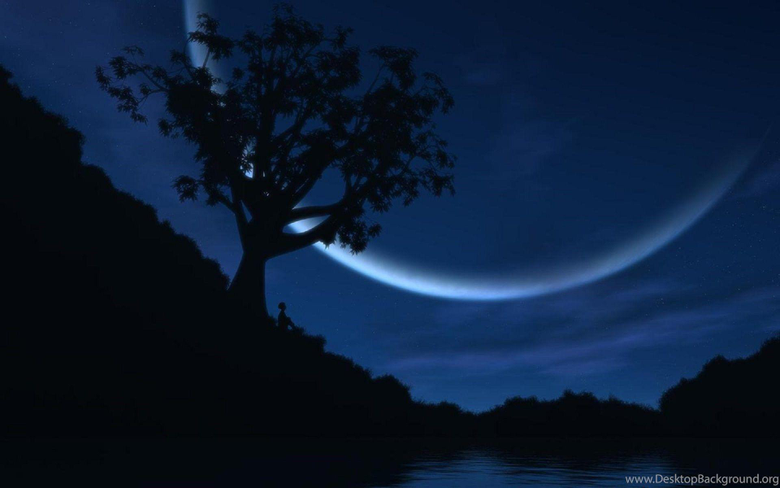 Good Night Awesome Half Moon Fantastic Wallpapers Desktop Backgrounds