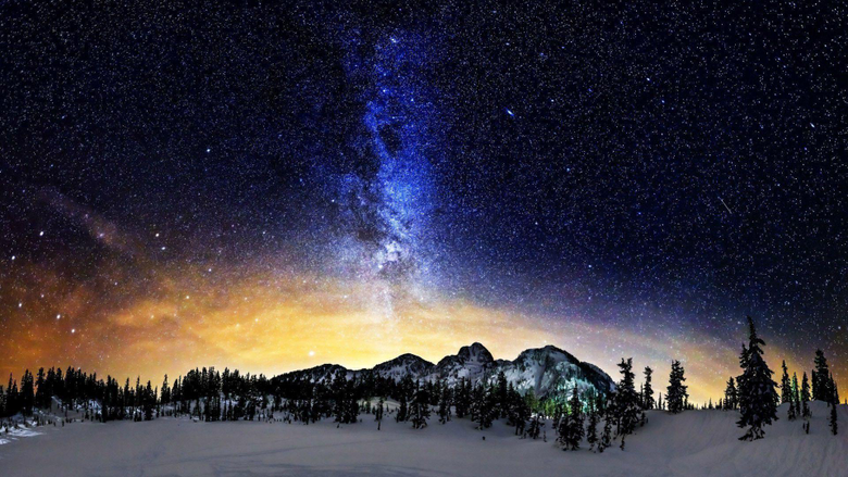 Milky Way above the snowy mountains wallpapers