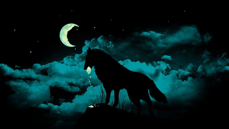 Wolf Howling at the Red Moon Wallpapers