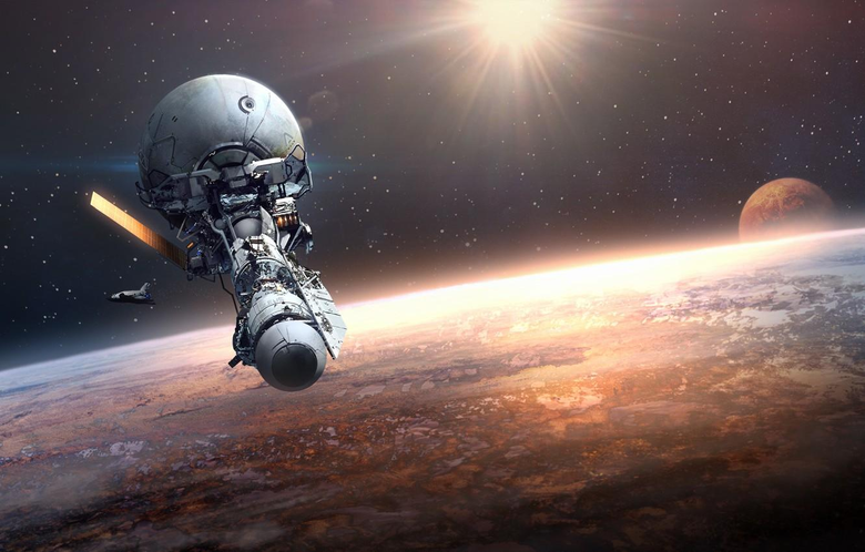 Wallpapers space fiction planet orbit space station Orbital