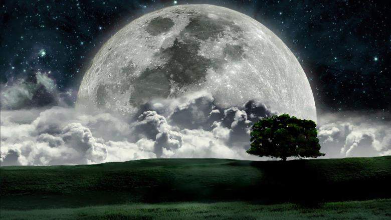 Very Nice Moon Cloud Painting Hd Wallpapers