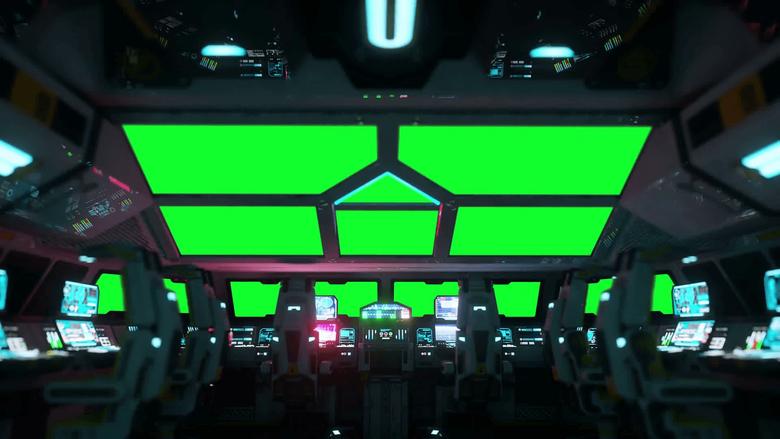 space ship futuristic interior Cabine view Green screen footage