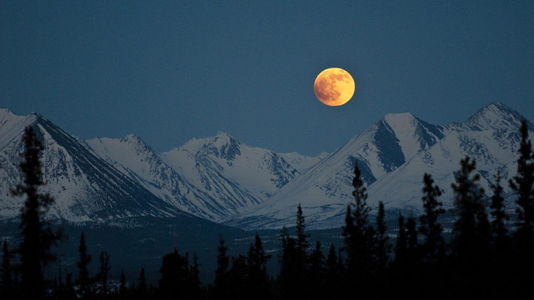 Mountains Moon Super Mountains Snow Mountain Wallpapers Image for