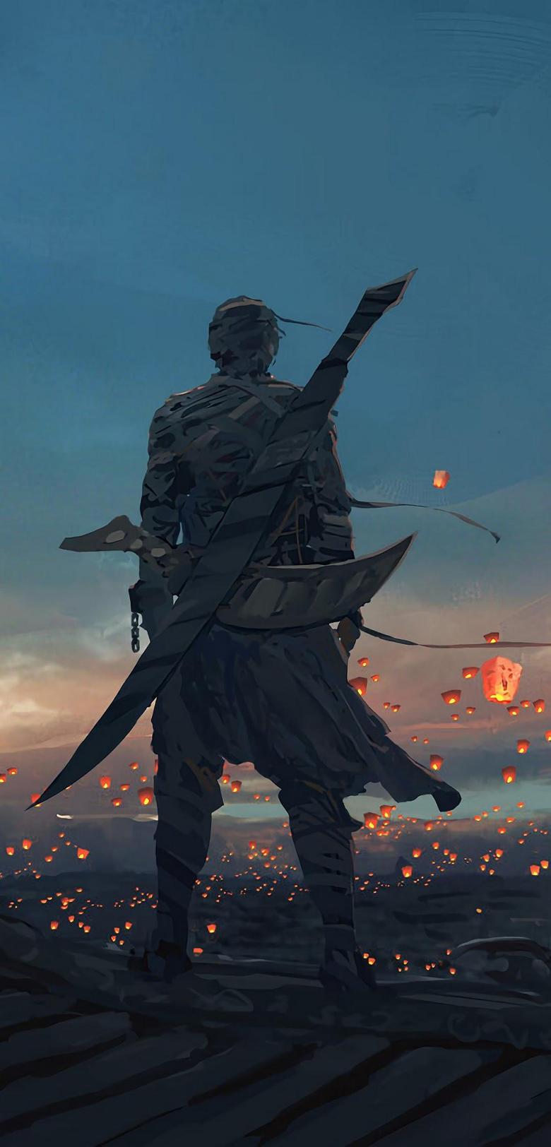 Anime Warrior Sky Lantern 4K Wallpapers