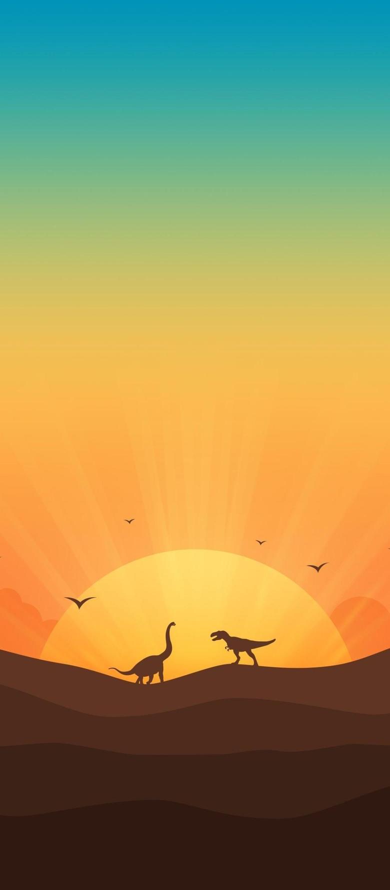 x2460 Dinosaurs In Gradient Sunrise 1080x2460 Resolution