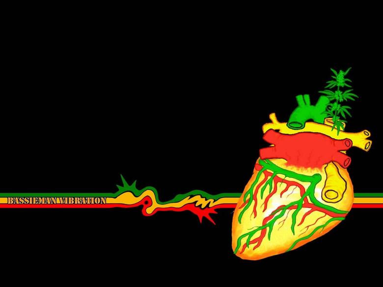 Rasta Heart Music Wide High Definition Wallpaper