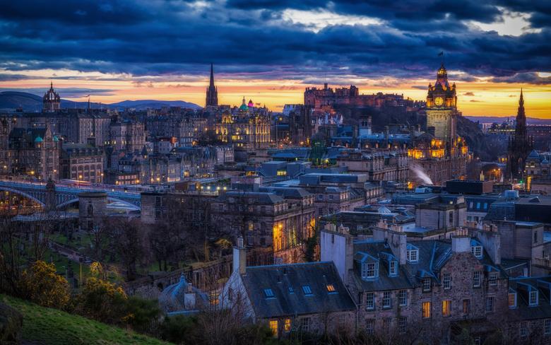 Desktop Wallpapers Edinburgh Scotland night time Cities