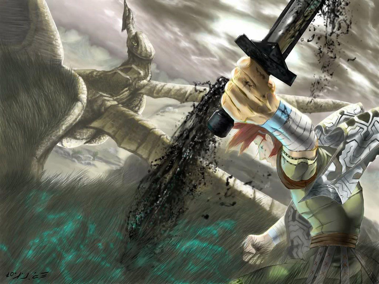 Wander Pulls Bloody Sword From Colossus