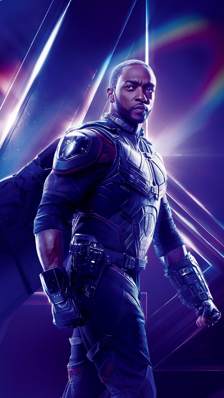 Anthony Mackie as Falcon in Avengers Infinity War phone