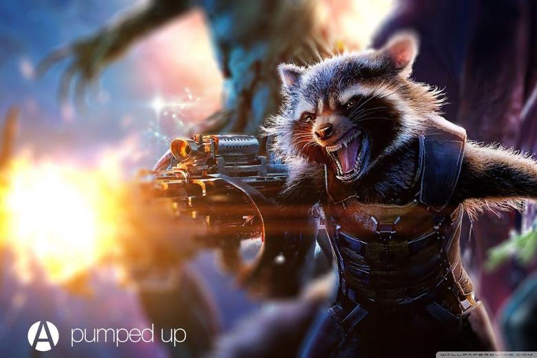 Rocket Raccoon Pumped Up by Awesome Design Studio HD desktop