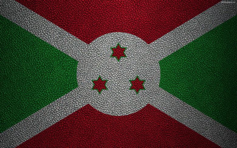 wallpapers Flag of Burundi leather texture 4k Burundi
