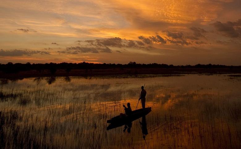 botswana safari sunset