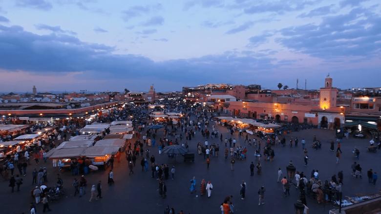 Jemaa el Fna Square in Marrakesh Morocco Stock Video Footage