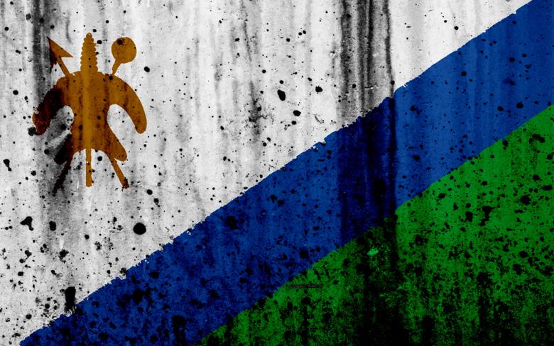 wallpapers Lesotho flag 4k grunge flag of Lesotho