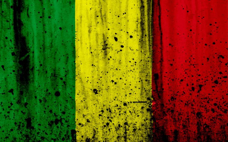 wallpapers Malian flag 4k grunge flag of Mali Africa